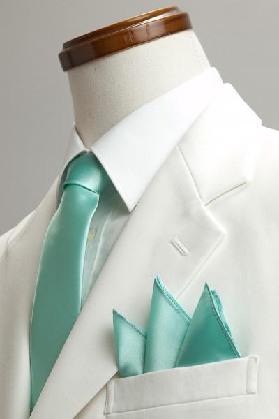 サテンポケットチーフ 37色 ミントグリーン #31