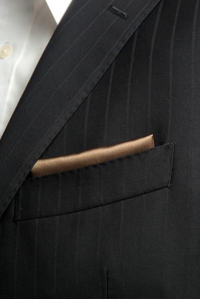サテンポケットチーフ 37色 ブラウン #32