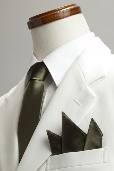 サテンポケットチーフ 37色 オリーブ #34