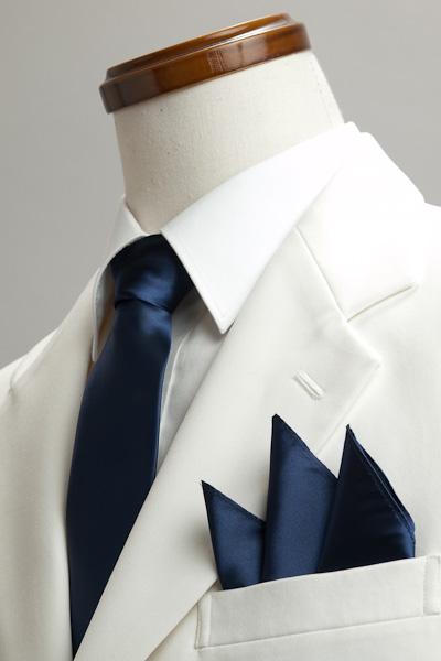 サテンポケットチーフ 37色 ネイビーブルー #35