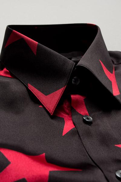 星柄シャツ ブラック/レッド