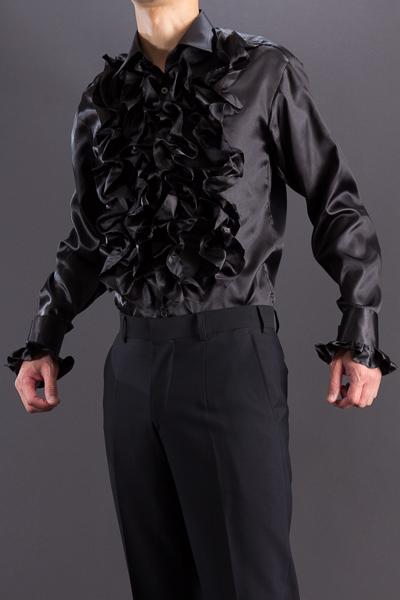 フリルシャツゴージャスサテン ブラック