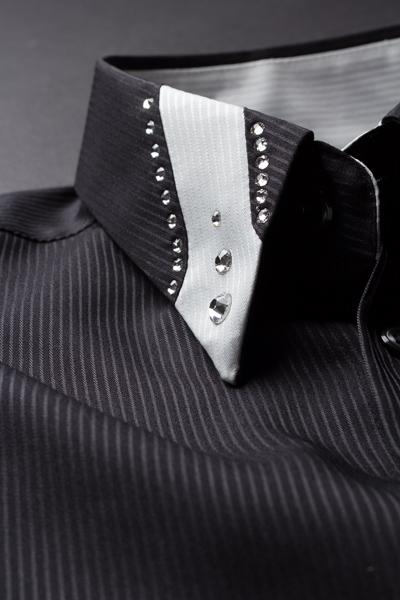 シャドーストライプ デザインカラーシャツ #208 ブラック