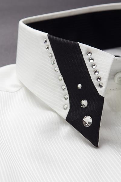シャドーストライプ デザインカラーシャツ #208 ホワイト