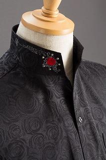 スタンドカラーシャツ オープンタイプ 薔薇ブラック