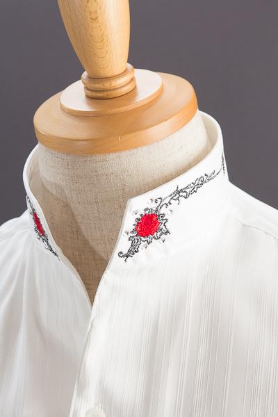 スタンドカラーシャツ オープンタイプ 薔薇 ホワイト #1564