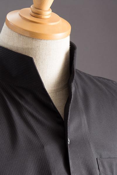 スタンドカラーシャツ オープンタイプ ストライプ #2463 ブラック