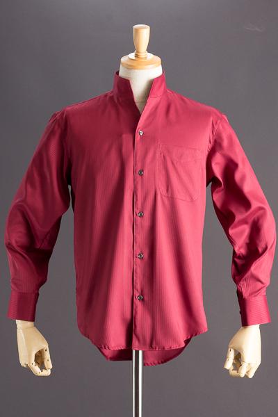 スタンドカラーシャツ オープンタイプ ストライプ #2463 ワインレッド