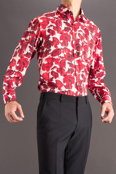 バラ柄シャツ #4636 レッド