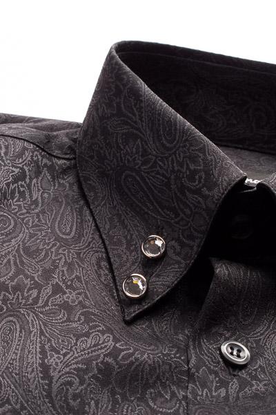 ペイズリー柄ハイカラーシャツ #2466 ブラック