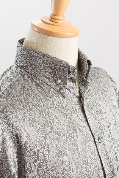 ペイズリー柄ハイカラーシャツ #2466 シルバー