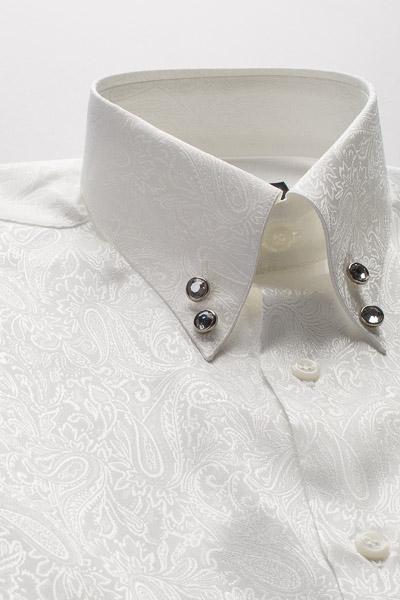 ペイズリー柄ハイカラーシャツ #2466 ホワイト