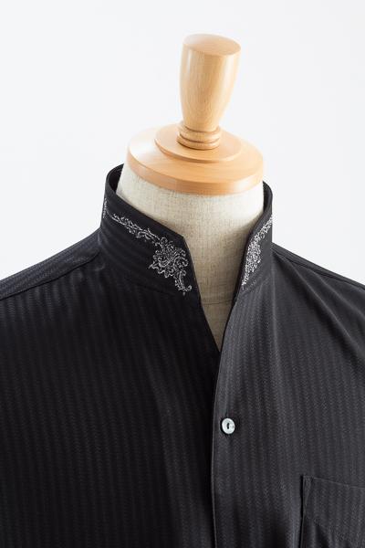 スタンドカラーシャツ オープンタイプ 刺繍襟#0203 ブラック