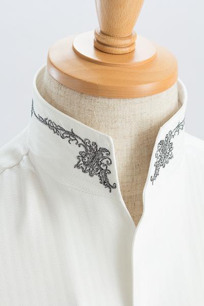 スタンドカラーシャツ オープンタイプ 刺繍襟#0203 ホワイト
