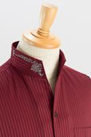 スタンドカラーシャツ オープンタイプ 刺繍襟
