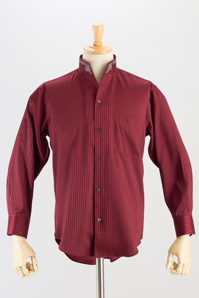 スタンドカラーシャツ オープンタイプ 刺繍襟#0203 ワイン