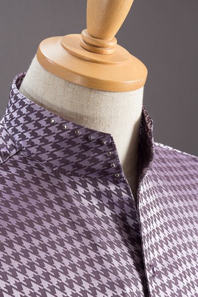 スタンドカラーシャツ オープンタイプ 千鳥柄 パープル #566