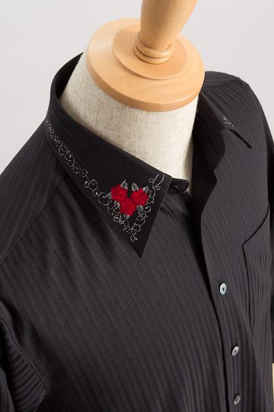 衿刺繍【バラ柄】ストライプシャツ #736 黒シャツ×真紅薔薇