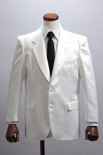 カラージャケット シングル2つボタン  【サテンジャケット】 ホワイト