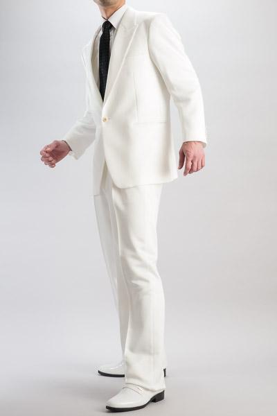 シングル 1つボタンスーツ 【ベネシャン織】 1タックパンツモデル ホワイト