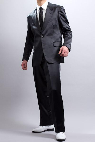 カラースーツ シングル 2ボタン【サテンスーツ】 ブラック