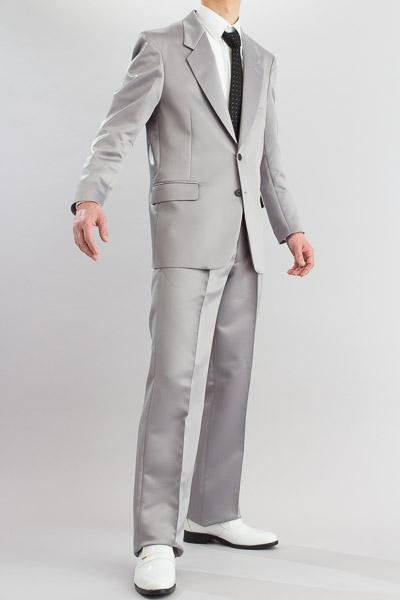 カラースーツ シングル 2ボタン【サテンスーツ】 シルバー