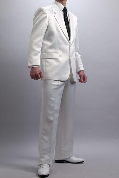 カラースーツ シングル 2ボタン【サテンスーツ】 ホワイト