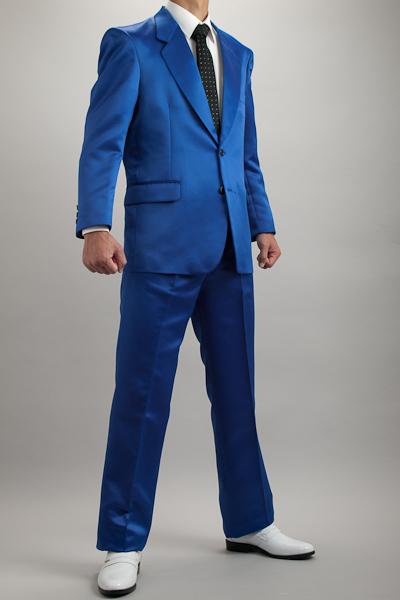 カラースーツ シングル 2ボタン【サテンスーツ】 ブルー