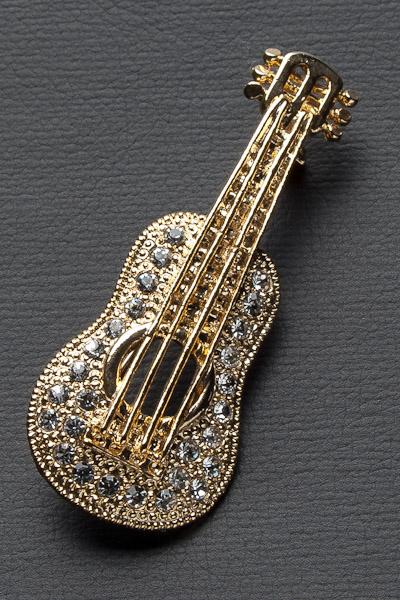 アコースティックギター ブローチ ラインストーン ゴールド #1012