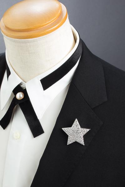 星型 ブローチ ラインストーン シルバー#1045