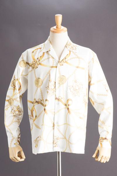 チェーン柄シャツ ビッグサイズ #5046(受注生産モデル)ホワイト
