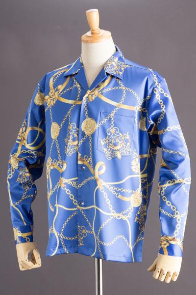 チェーン柄シャツ ビッグサイズ #5046(受注生産モデル)ブルー