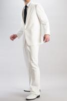 1ボタンホワイトシングルスーツ 1タックパンツ