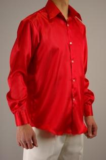 サテンカラーシャツ