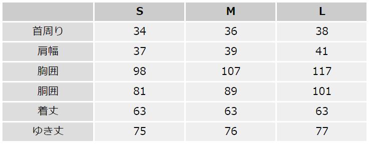 女性用サテンシャツサイズ表